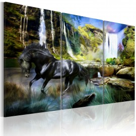 Paveikslas - Horse on the sky-blue waterfall background