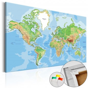 Map Of The World Picture.Kamstinis Paveikslas World Geography Cork Map Deco Detalės