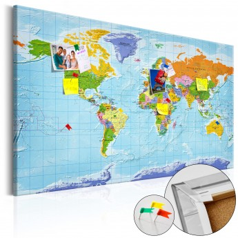 Map Of The World Picture.Kamstinis Paveikslas World Map Countries Flags Cork Map Deco Detalės