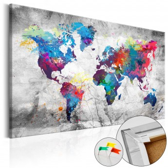 The Picture Of The World Map.Kamstinis Paveikslas World Map Grey Style Cork Map Deco Detalės