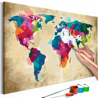 A Picture Of The World Map.Pasidaryk Pats Paveikslas Ant Drobės World Map Colourful Deco Detalės