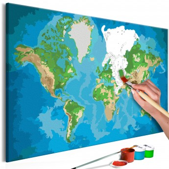 The Picture Of The World Map.Pasidaryk Pats Paveikslas Ant Drobės World Map Blue Green Deco Detalės