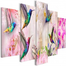Paveikslas - Colourful Hummingbirds (5 Parts) Wide Pink