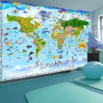 The Picture Of The World Map.Fototapetas World Map For Kids Deco Detalės