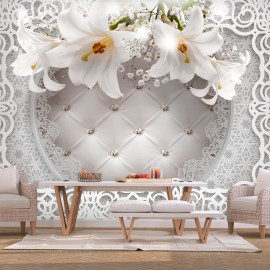Fototapetas - Lilies and Quilted Background