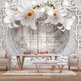 Fototapetas - Lilies and Wooden Background