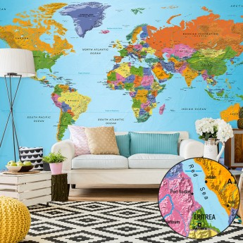 A Picture Of The World Map.Fototapetas Xxl World Map Colourful Geography Ii Deco Detalės
